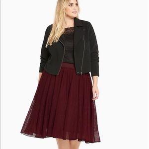 Torrid Burgundy Tulle Mesh Midi Skirt sz00